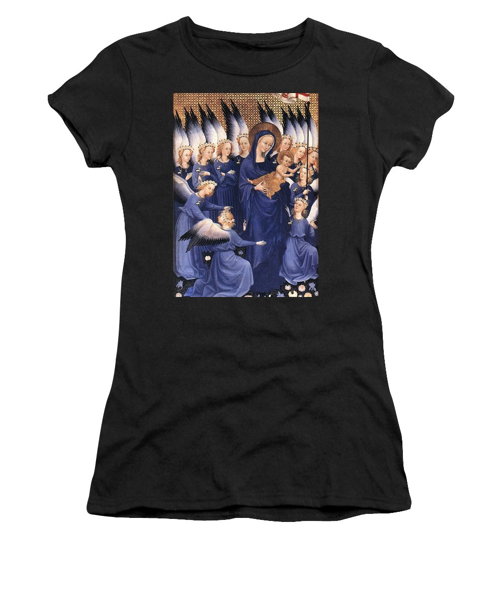 Paintings Women's T-Shirt (Athletic Fit) featuring the painting Mary With Baby Jesus by Munir Alawi