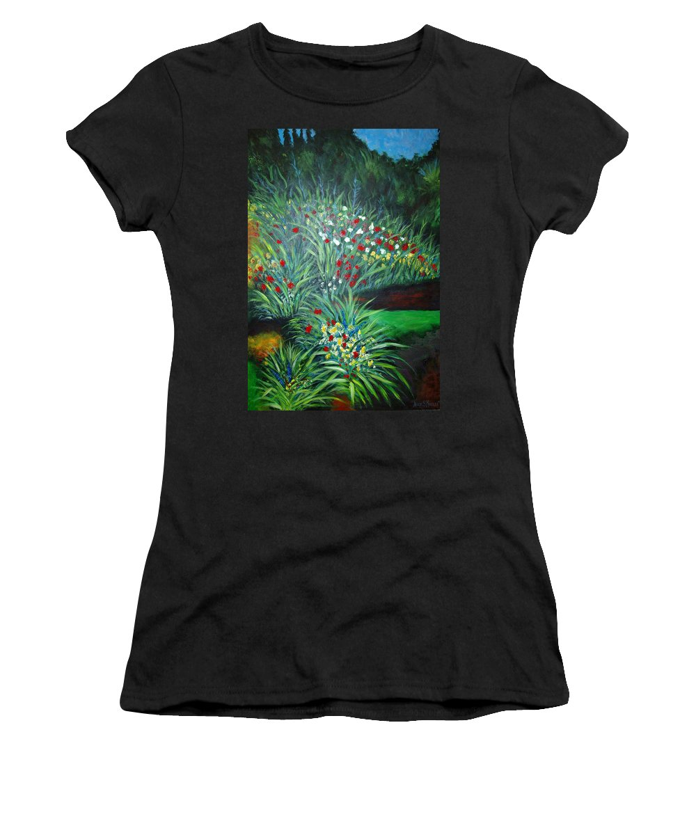 Landscape Women's T-Shirt (Athletic Fit) featuring the painting Maryann's Garden 3 by Nancy Mueller