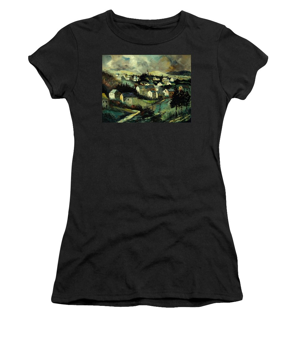 Winter Women's T-Shirt (Athletic Fit) featuring the painting Masbourg by Pol Ledent