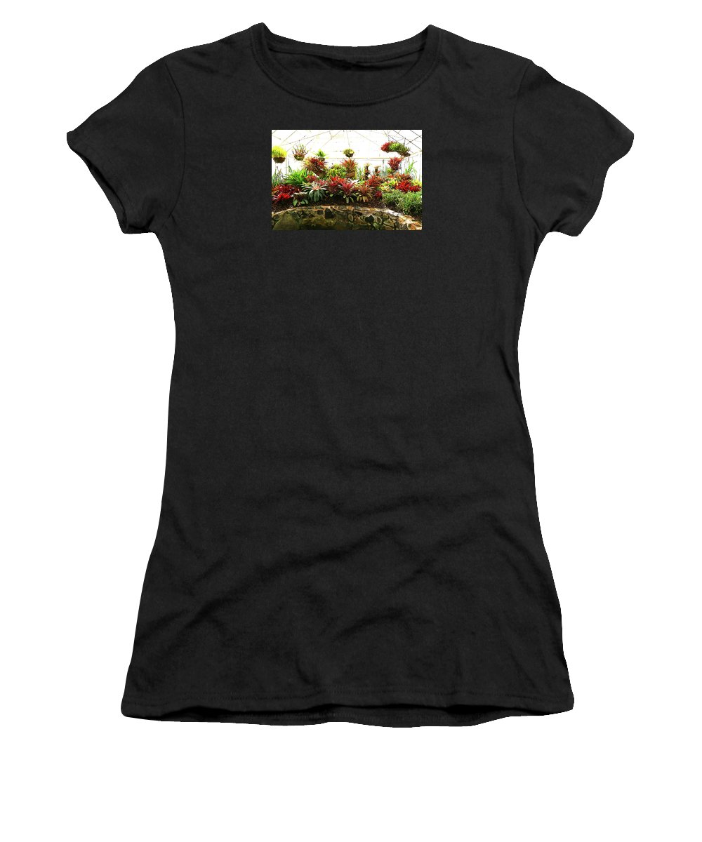 Bromeliad Women's T-Shirt (Athletic Fit) featuring the photograph Massed Bromeliad In Hothouse by Nareeta Martin