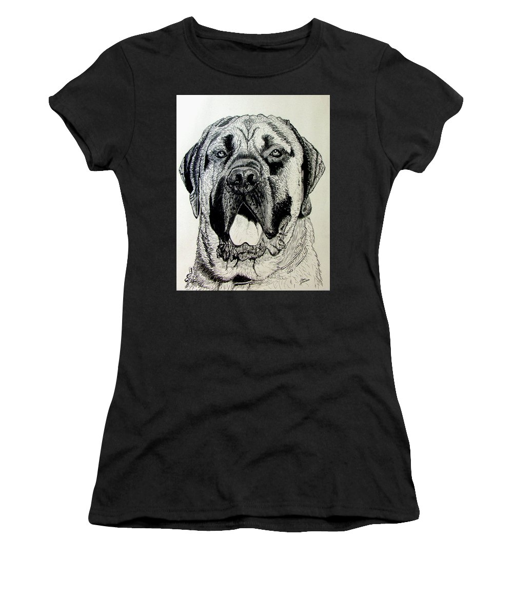 Mastiff Women's T-Shirt (Athletic Fit) featuring the drawing Mastiff by Stan Hamilton