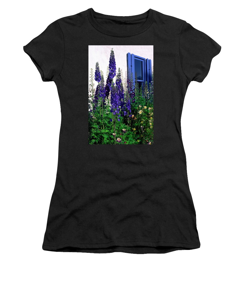 Columbine Women's T-Shirt (Athletic Fit) featuring the photograph Matching Flowers And Window by Sally Weigand