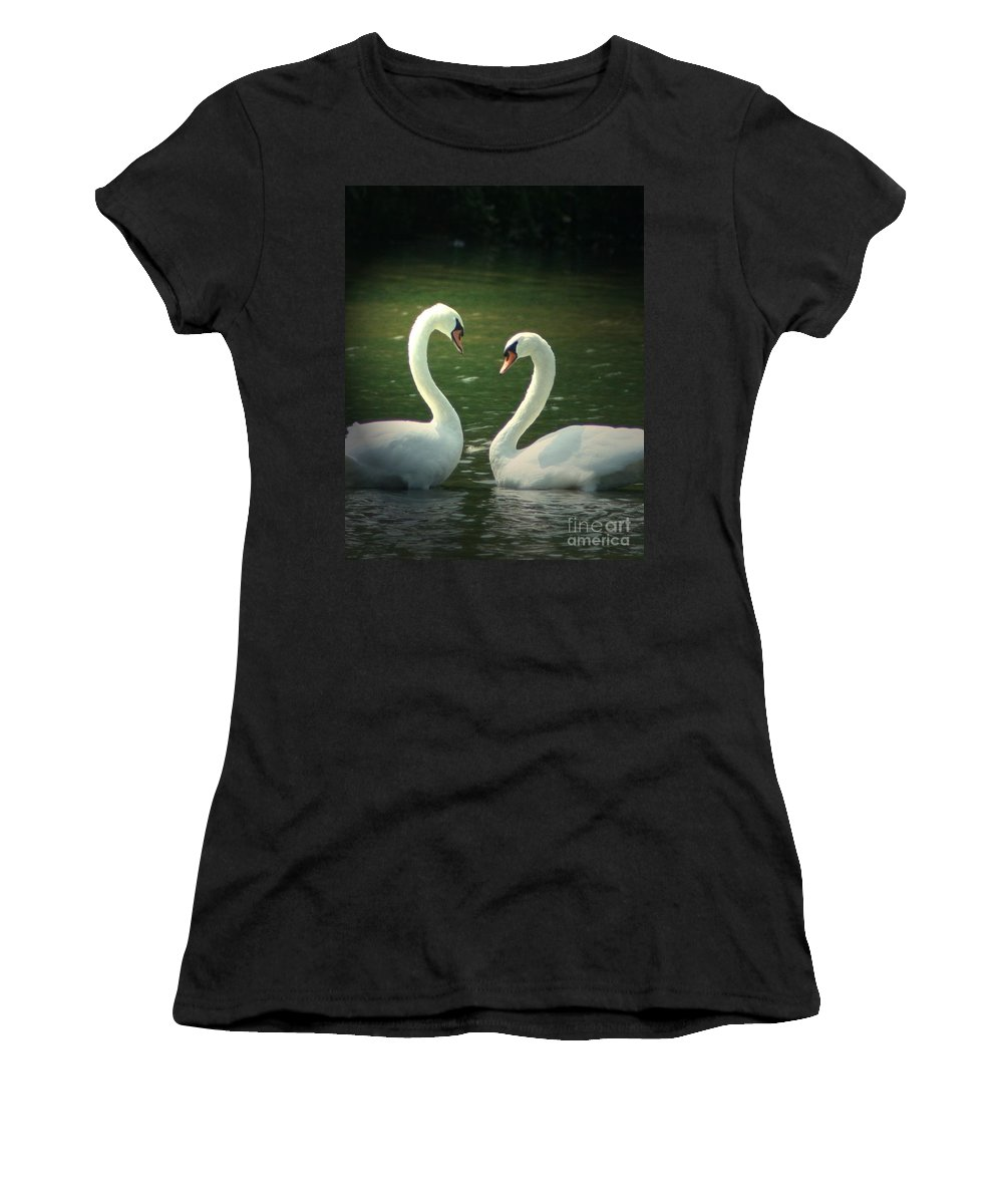 Nature Wildlife Ohio Waterscape Landscape Swans Lake Pond Women's T-Shirt (Athletic Fit) featuring the photograph Mates For Life by Dawn Downour