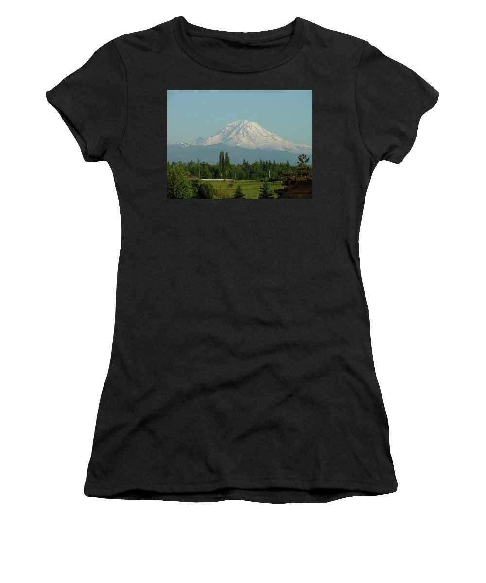 Mountain Women's T-Shirt (Athletic Fit) featuring the photograph May Mt. Rainier by Shirley Heyn