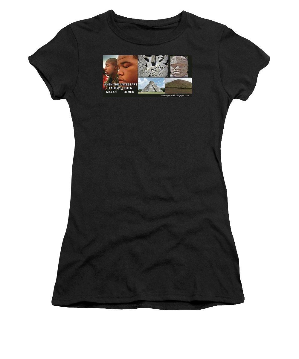 Mayan Olmec Women's T-Shirt (Athletic Fit) featuring the digital art Mayan Olmec by Adenike AmenRa