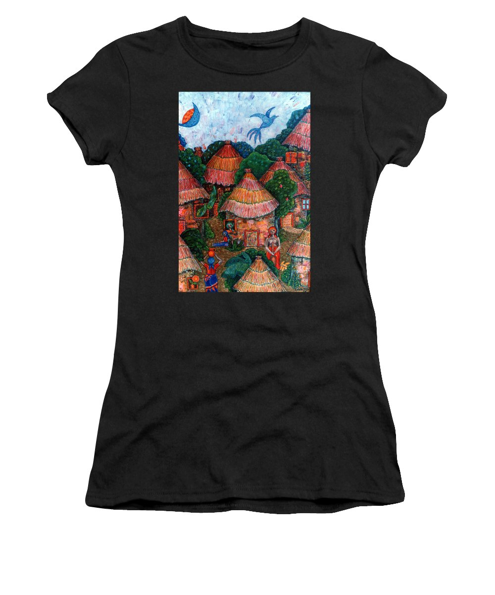 Africa Women's T-Shirt (Athletic Fit) featuring the painting Maybe That Was My Country by Madalena Lobao-Tello