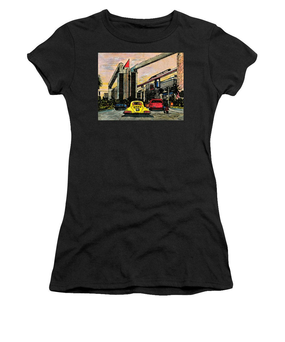 Miami Women's T-Shirt (Athletic Fit) featuring the mixed media Mb2210 by Jorge Delara