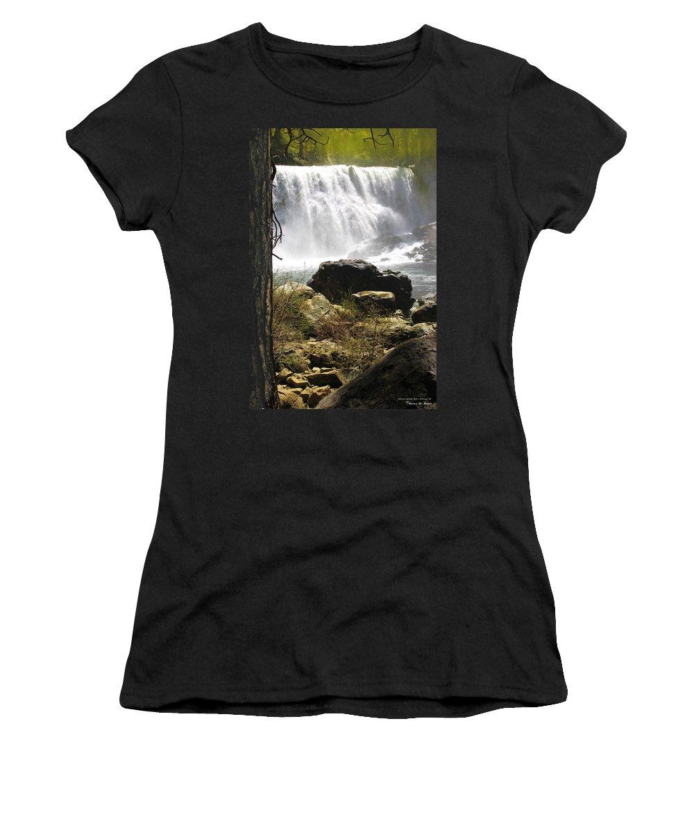 Landscape Women's T-Shirt (Athletic Fit) featuring the photograph Mccloud Middle Falls by Karen W Meyer