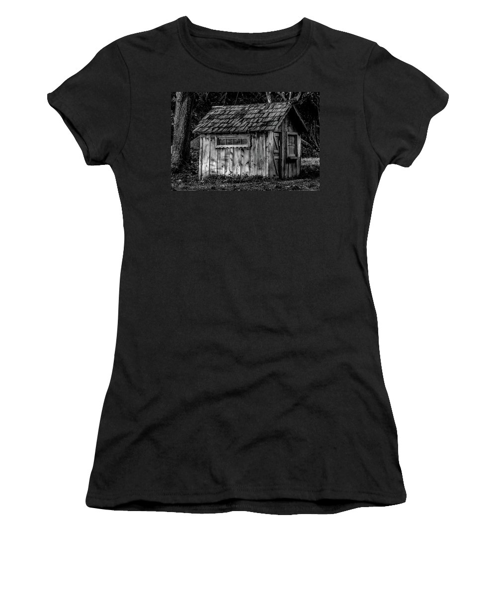 Shelter Women's T-Shirt featuring the photograph Meadow Shelter - Bw by Alan Hart