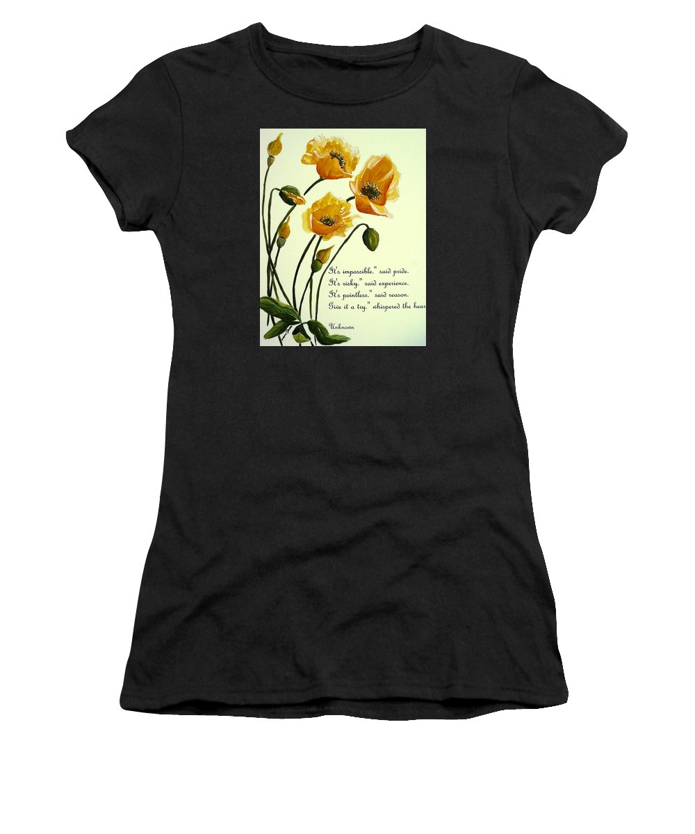 Yellow Meconopsis Women's T-Shirt (Athletic Fit) featuring the painting Meconopsis Poem by Karin Dawn Kelshall- Best
