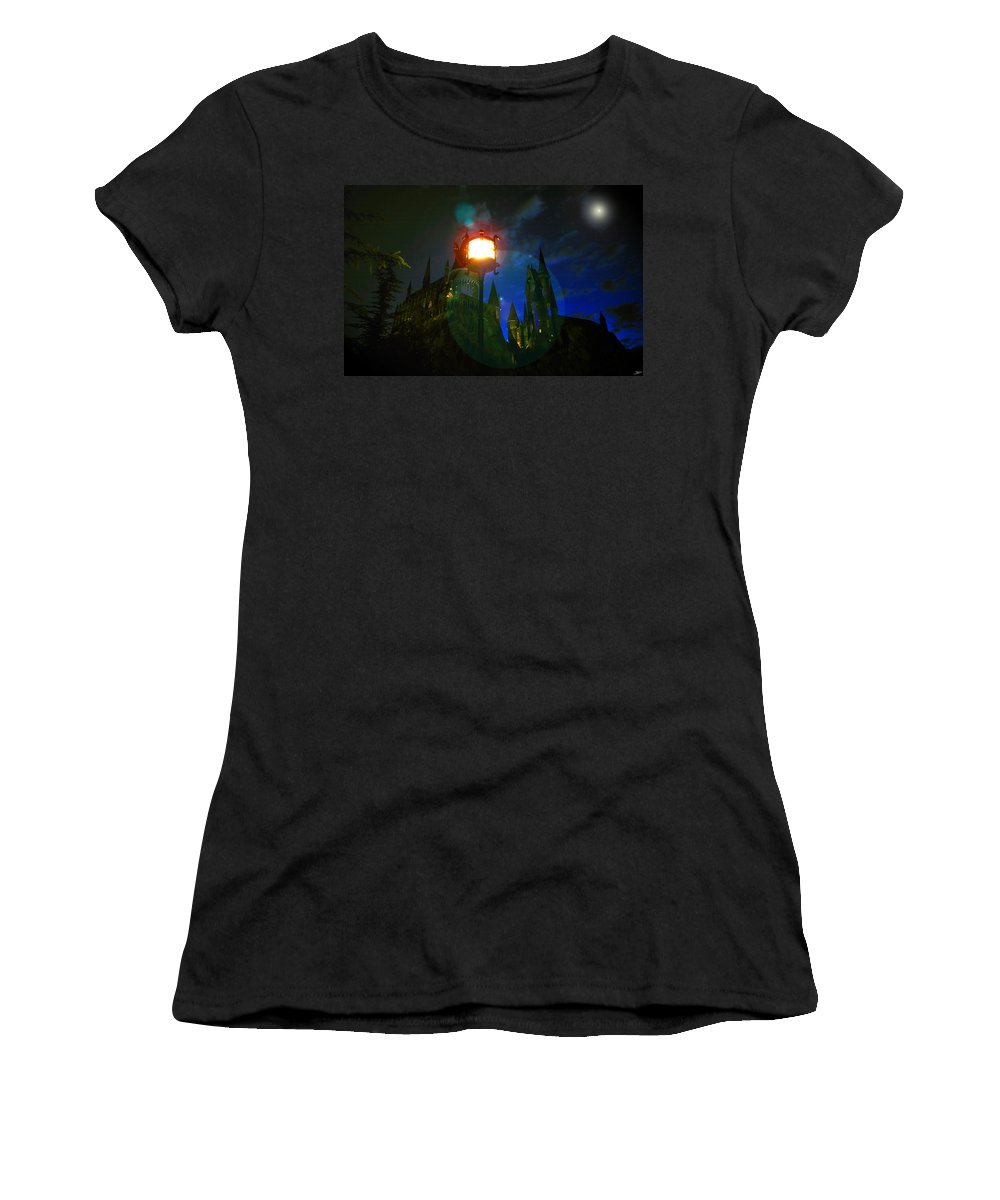 Art Women's T-Shirt (Athletic Fit) featuring the painting Medieval Night by David Lee Thompson