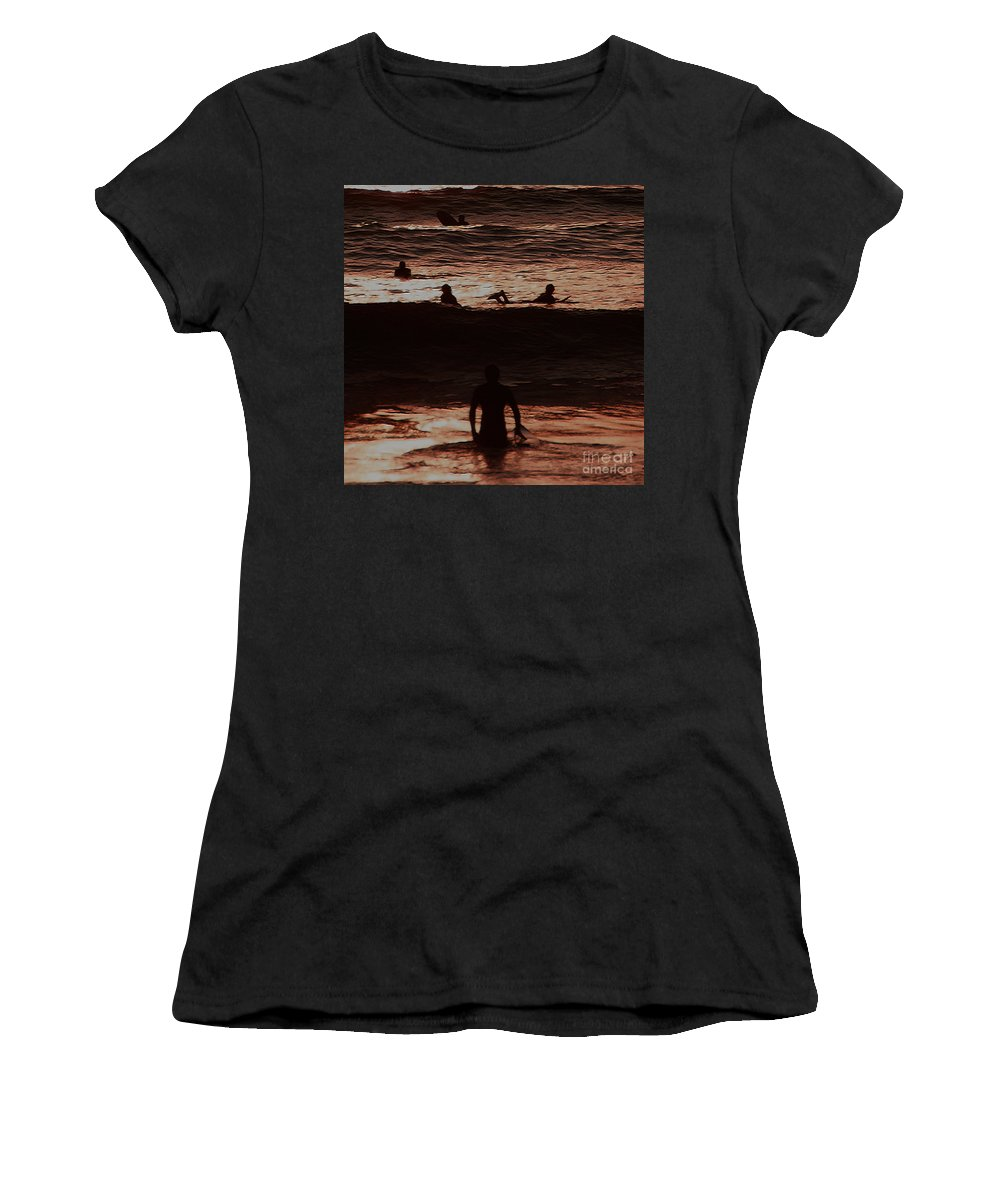 Ocean Women's T-Shirt featuring the photograph Meditari - Red by Linda Shafer