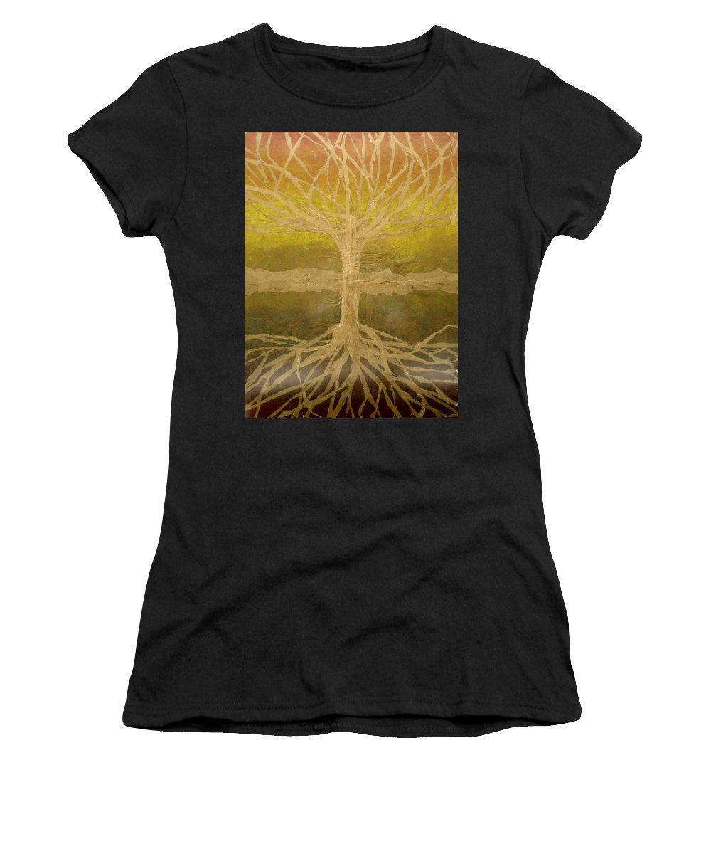 Abstract Women's T-Shirt (Athletic Fit) featuring the painting Meditation by Leah Tomaino