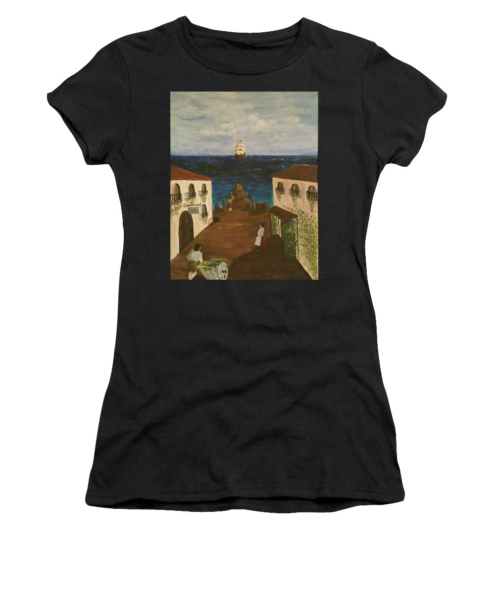 Women's T-Shirt (Athletic Fit) featuring the painting Mediterranean by Jan Marie