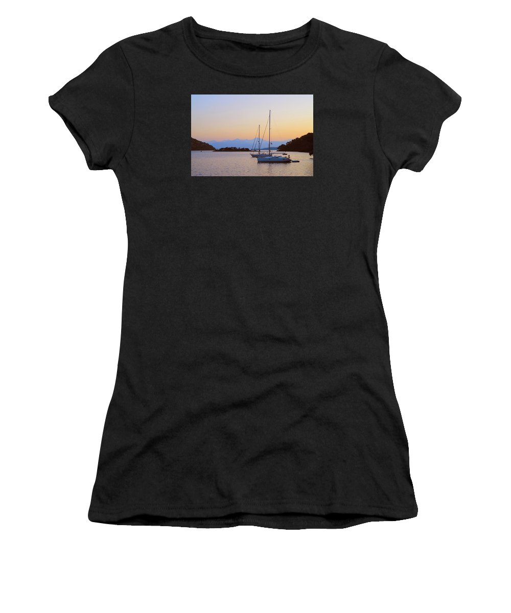 Mediterranean Sea Women's T-Shirt (Athletic Fit) featuring the photograph Mediterranean Morning by Alan Toepfer