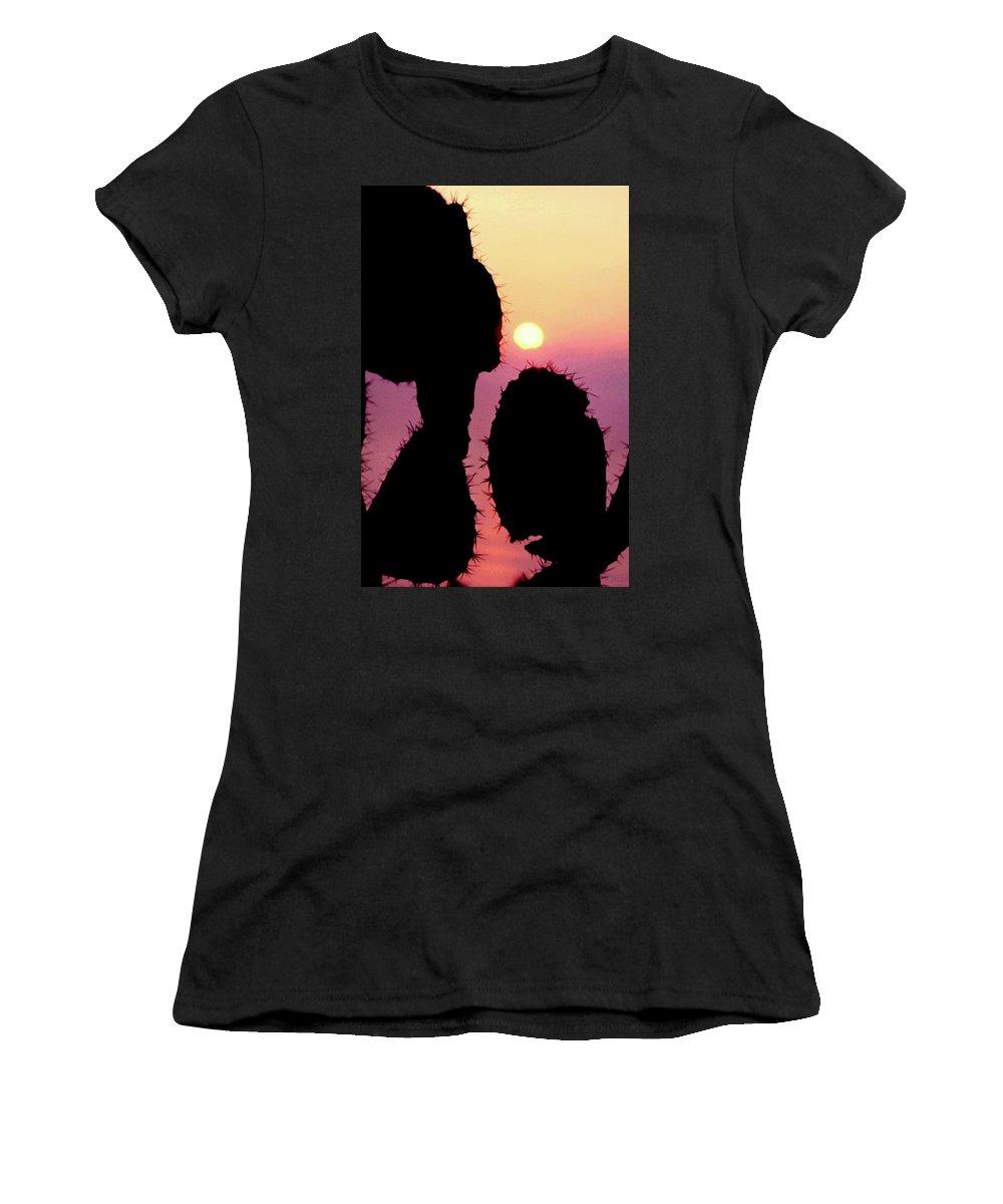 Cactus Women's T-Shirt (Athletic Fit) featuring the photograph Mediterranean Sunrise by Robert J Sadler