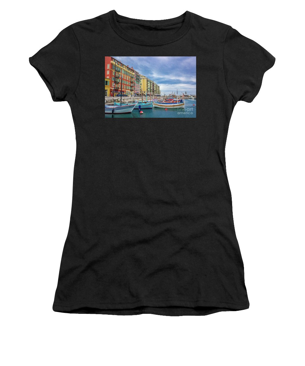 Castle Hill Women's T-Shirt (Athletic Fit) featuring the photograph Meditteranean Life In Nice, France by Liesl Walsh