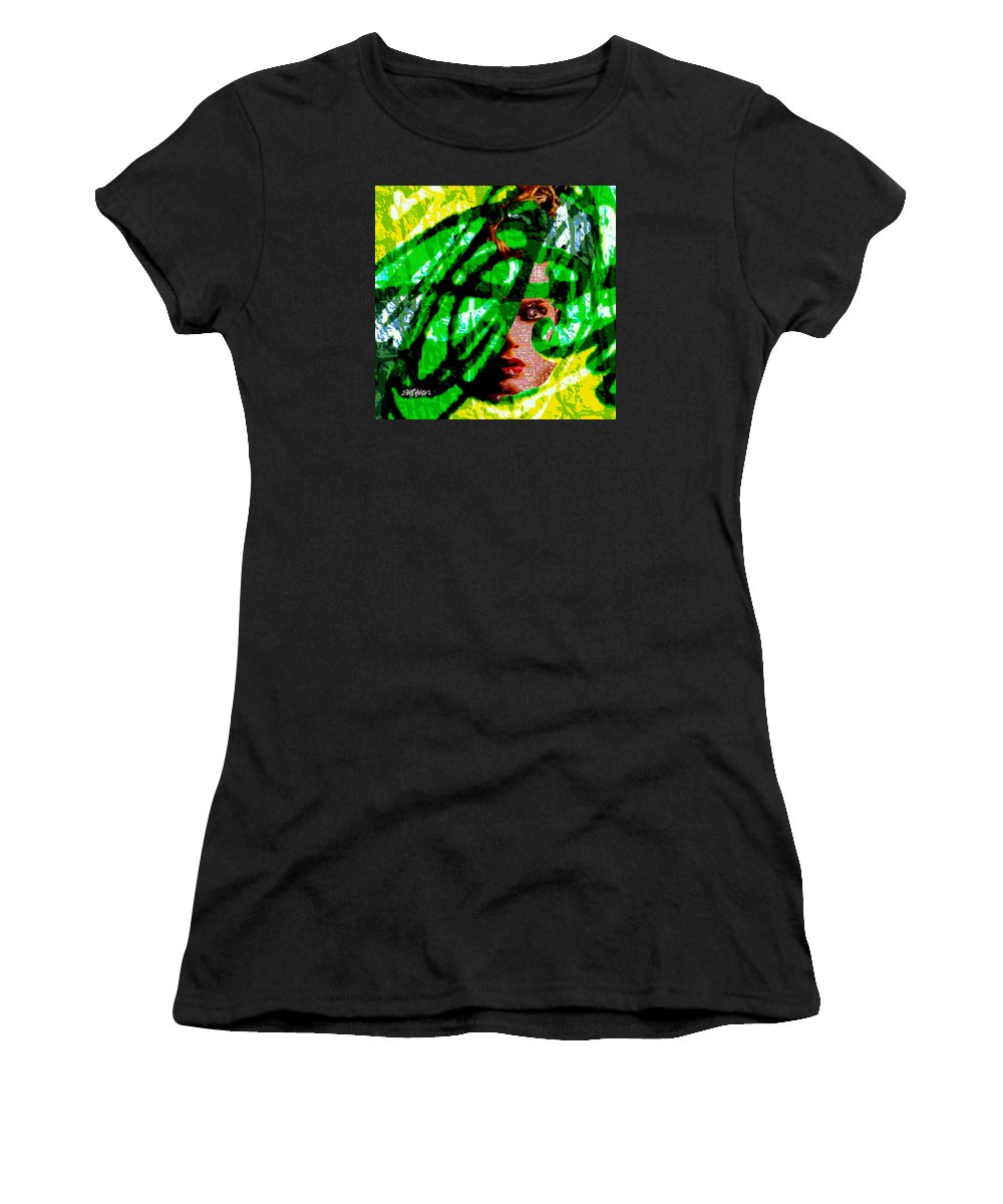 Abstract Women's T-Shirt (Athletic Fit) featuring the digital art Medusa 1-26 by Seth Weaver