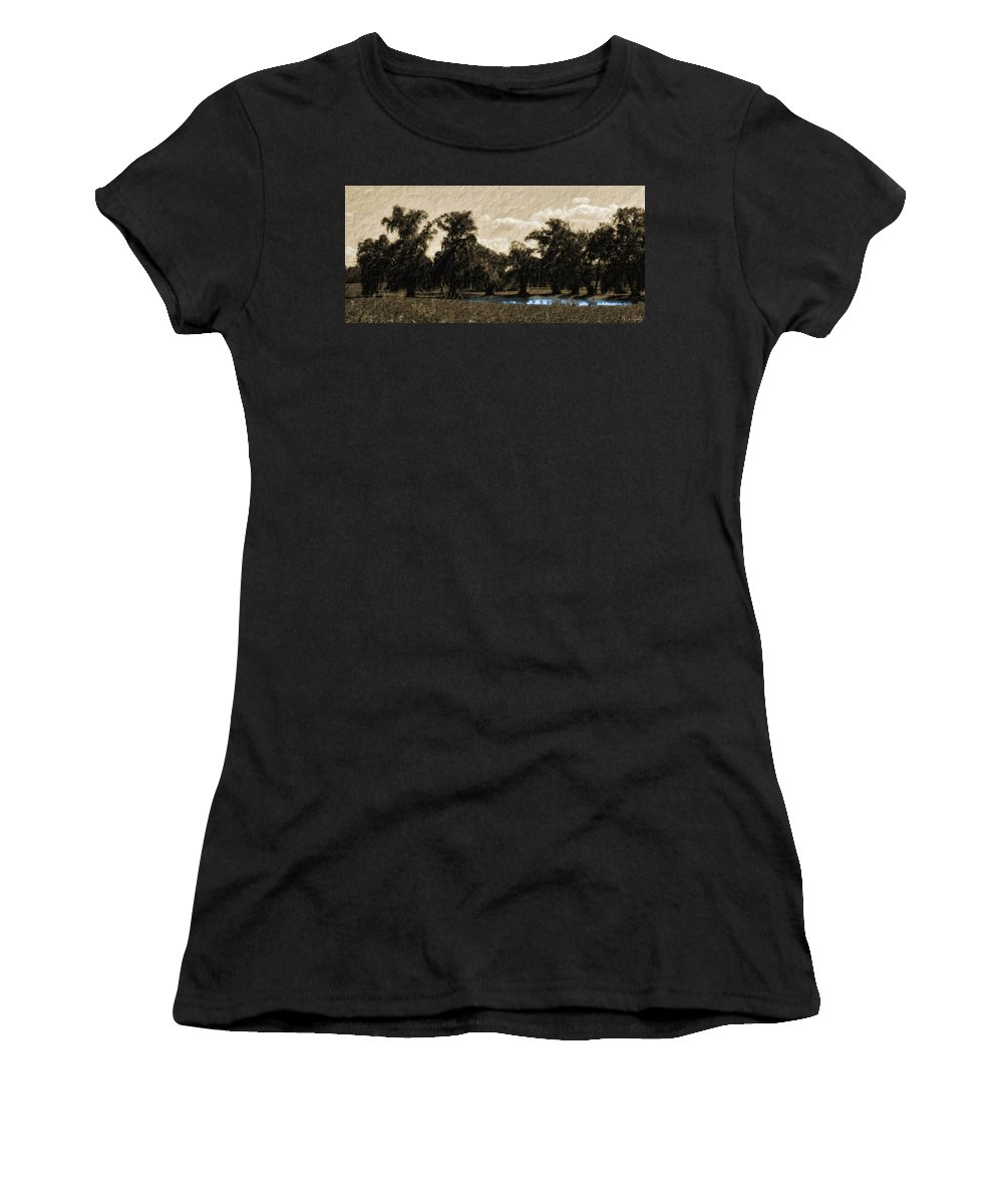 Landscape Women's T-Shirt (Athletic Fit) featuring the photograph Meet Me By The Willows by Lauren Radke