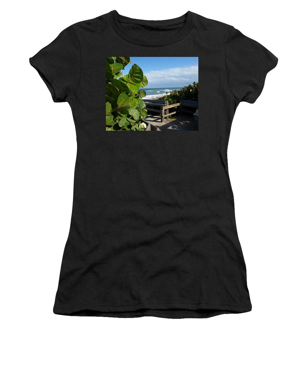 Seagrape; Sea; Grape; Ocean; Cocoanut; Point; Melbourne; Beach; Florida; Waves; Surf; Seascape; Brev Women's T-Shirt (Athletic Fit) featuring the photograph Melbourne Beach Florida by Allan Hughes