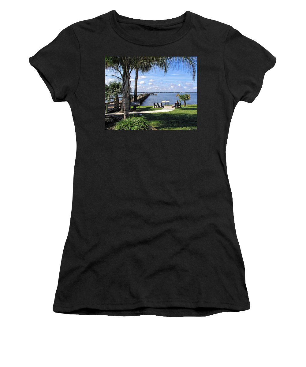 Melbourne; Beach; Pier; Florida; Peaceful; Peace; Indian; River; South; Scene; Scenery; South; South Women's T-Shirt (Athletic Fit) featuring the photograph Melbourne Beach Pier In Florida by Allan Hughes