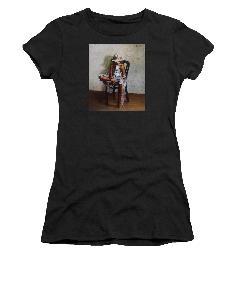 Girl Women's T-Shirt (Athletic Fit) featuring the painting Memories by Natalia Tejera