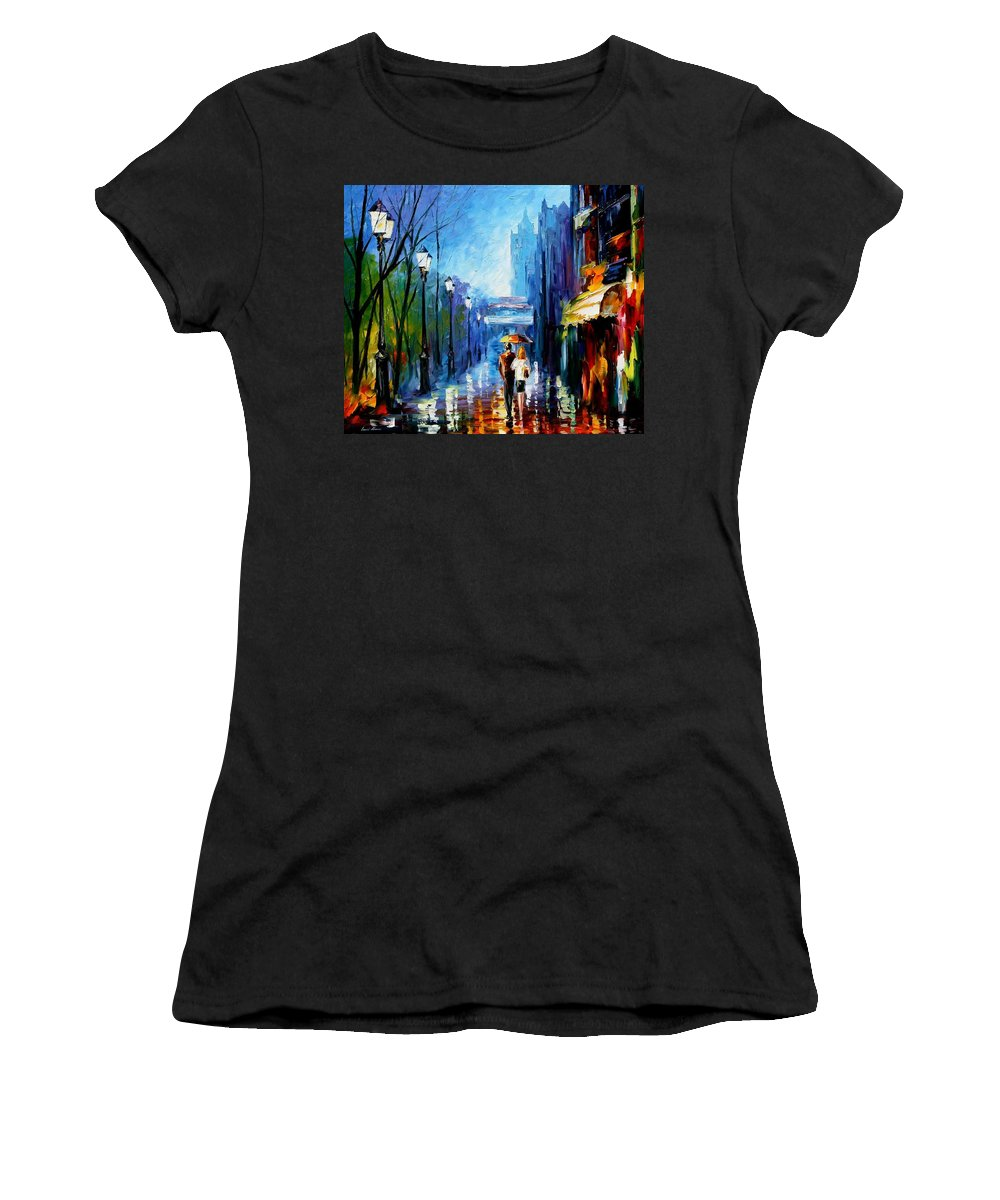 Afremov Women's T-Shirt (Athletic Fit) featuring the painting Memories Of Paris by Leonid Afremov
