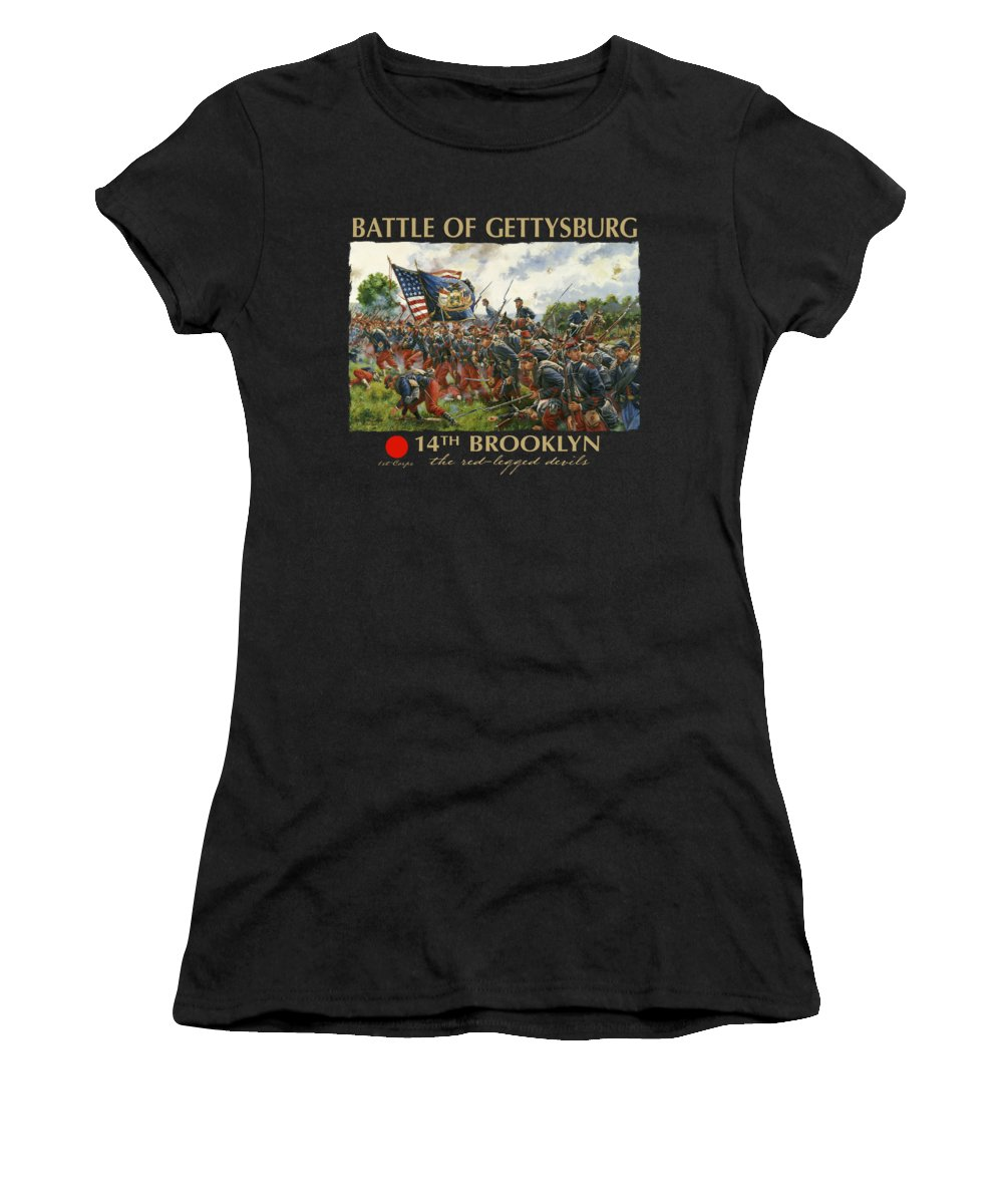 Civil Women's T-Shirt featuring the painting Men Of Brooklyn - The 14th Brooklyn 14th N.y.s.m. Charge On The Railrad Cut - Battle Of Gettysburg by Mark Maritato