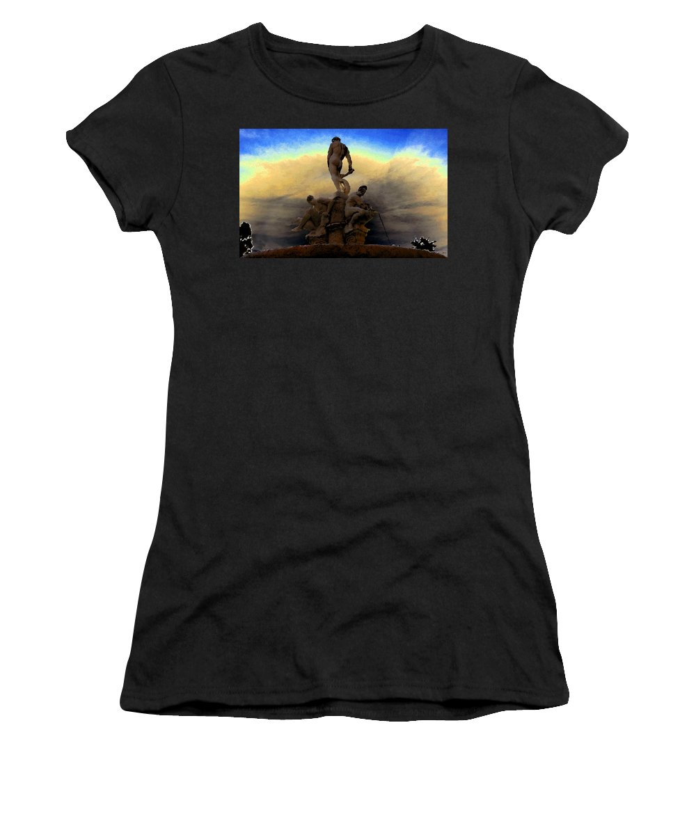 Art Women's T-Shirt (Athletic Fit) featuring the painting Men Of Greece by David Lee Thompson