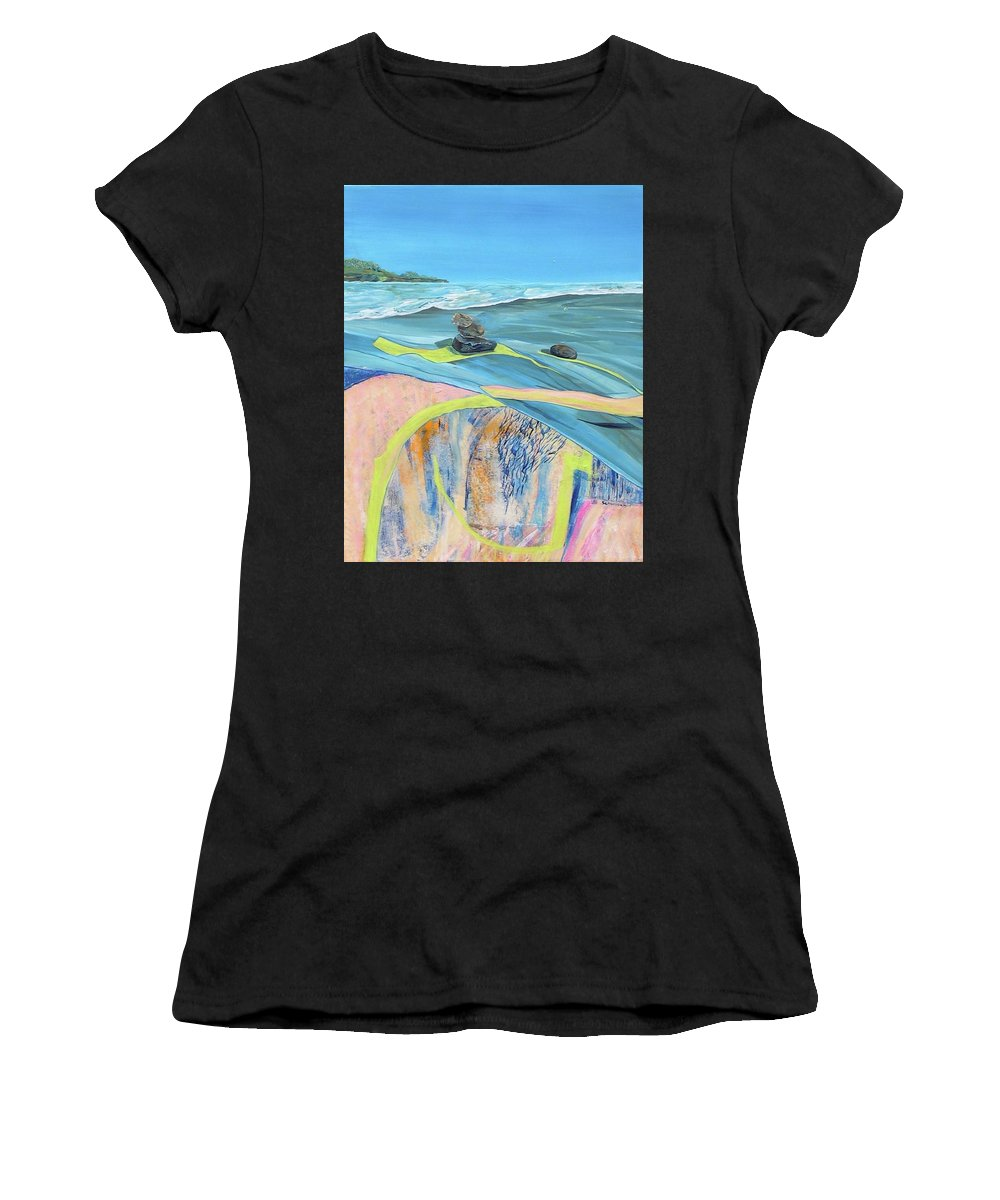 Mendocino Coast Women's T-Shirt (Athletic Fit) featuring the painting mendocino coast II by Gabriele Schwibach