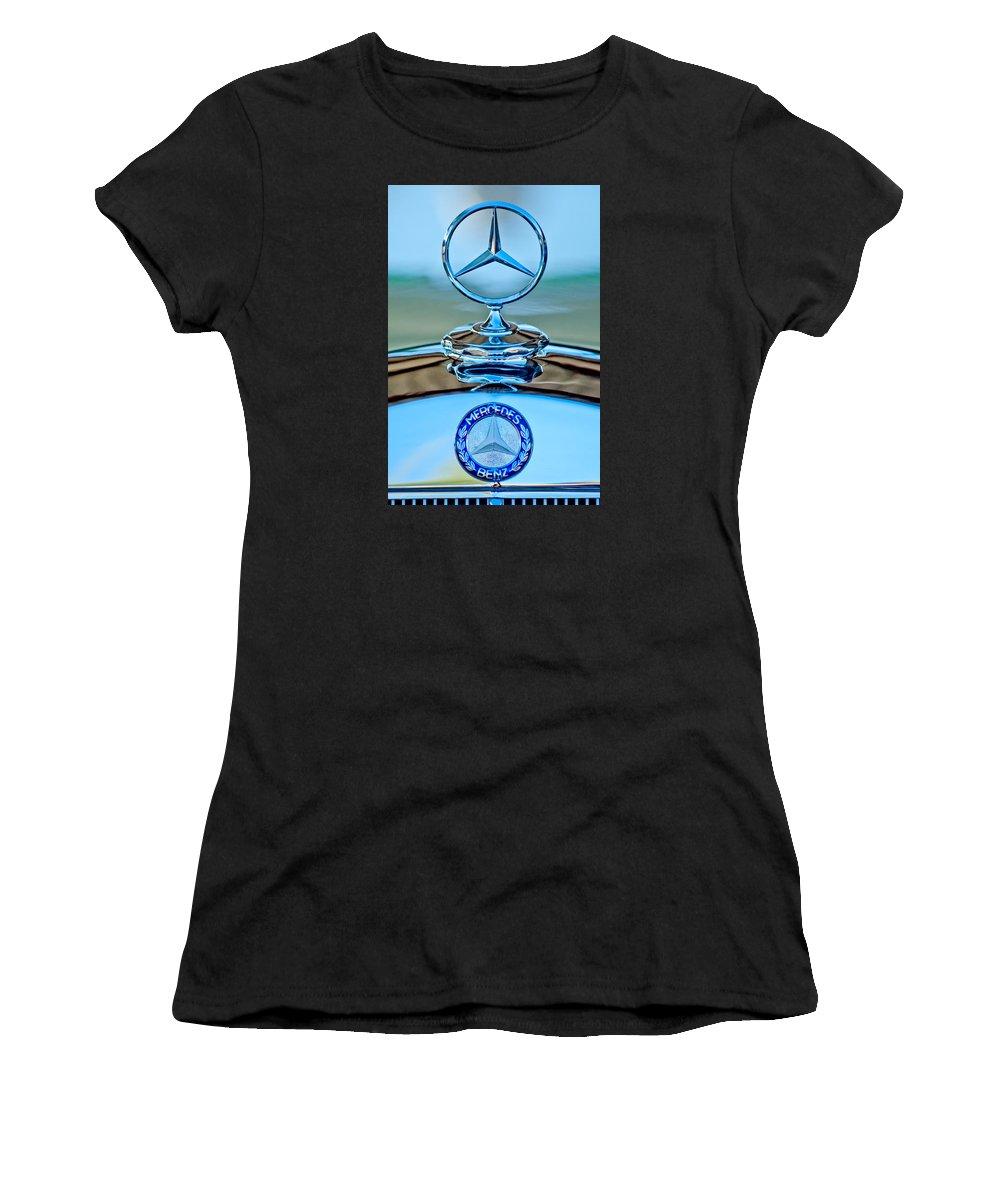 Merceds Benz Women's T-Shirt (Athletic Fit) featuring the photograph Mercedes Benz Hood Ornament by Jill Reger