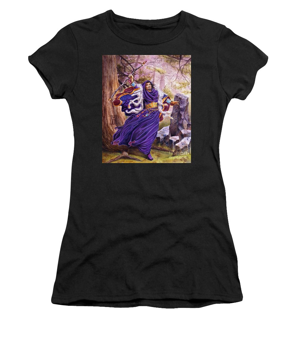 Artwork Women's T-Shirt (Athletic Fit) featuring the painting Merlin by Melissa A Benson