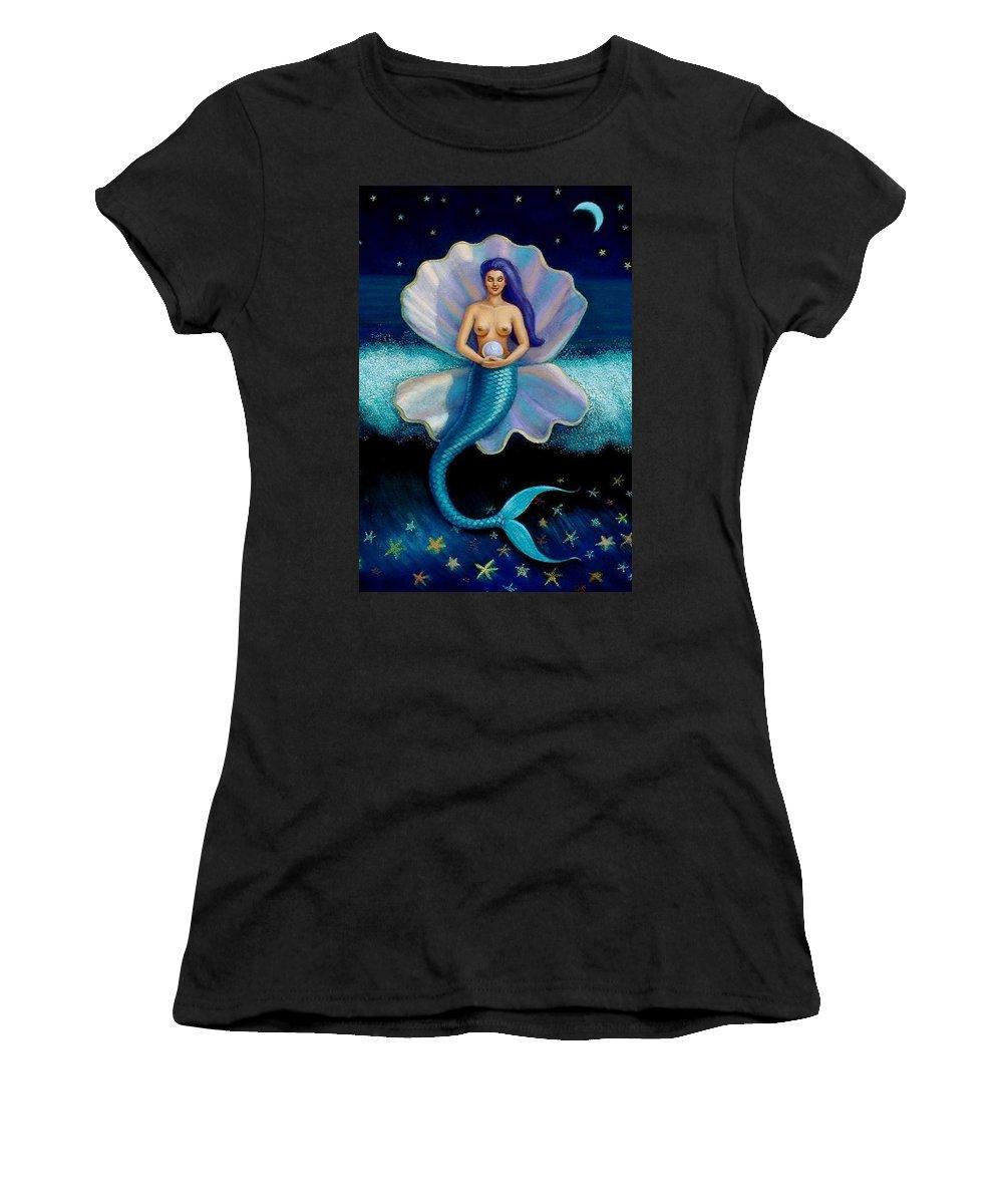 Mermaid Women's T-Shirt (Athletic Fit) featuring the painting Mermaid Art- Mermaid's Pearl by Sue Halstenberg