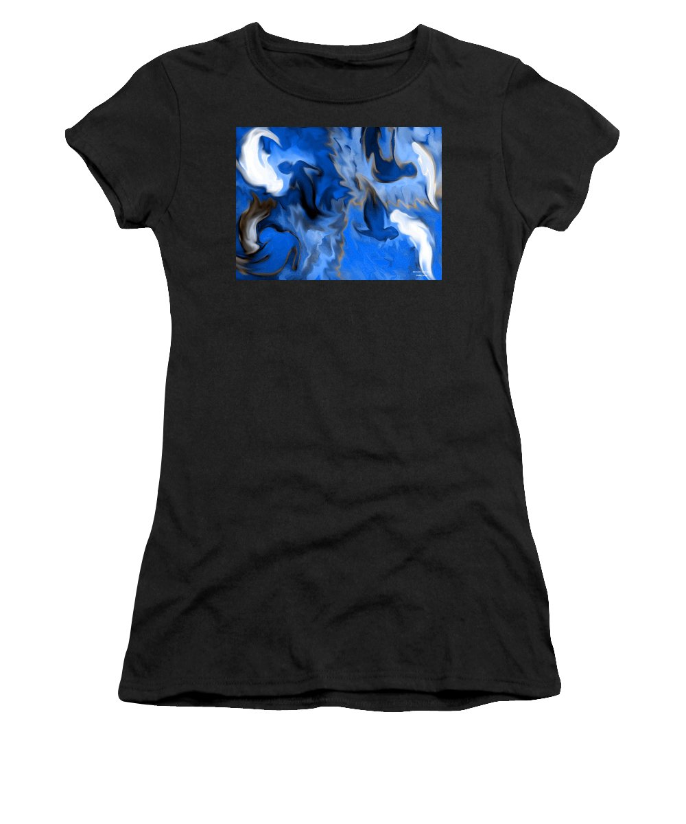 Mermaids Women's T-Shirt (Athletic Fit) featuring the digital art Mermaids by Shelley Jones