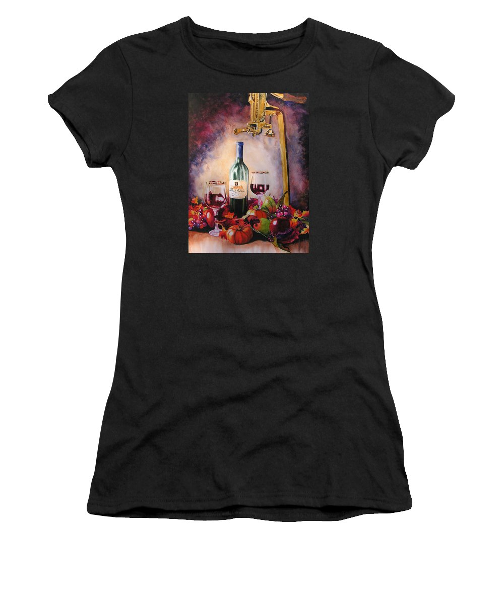 Wine Women's T-Shirt (Athletic Fit) featuring the painting Merriment by Karen Stark