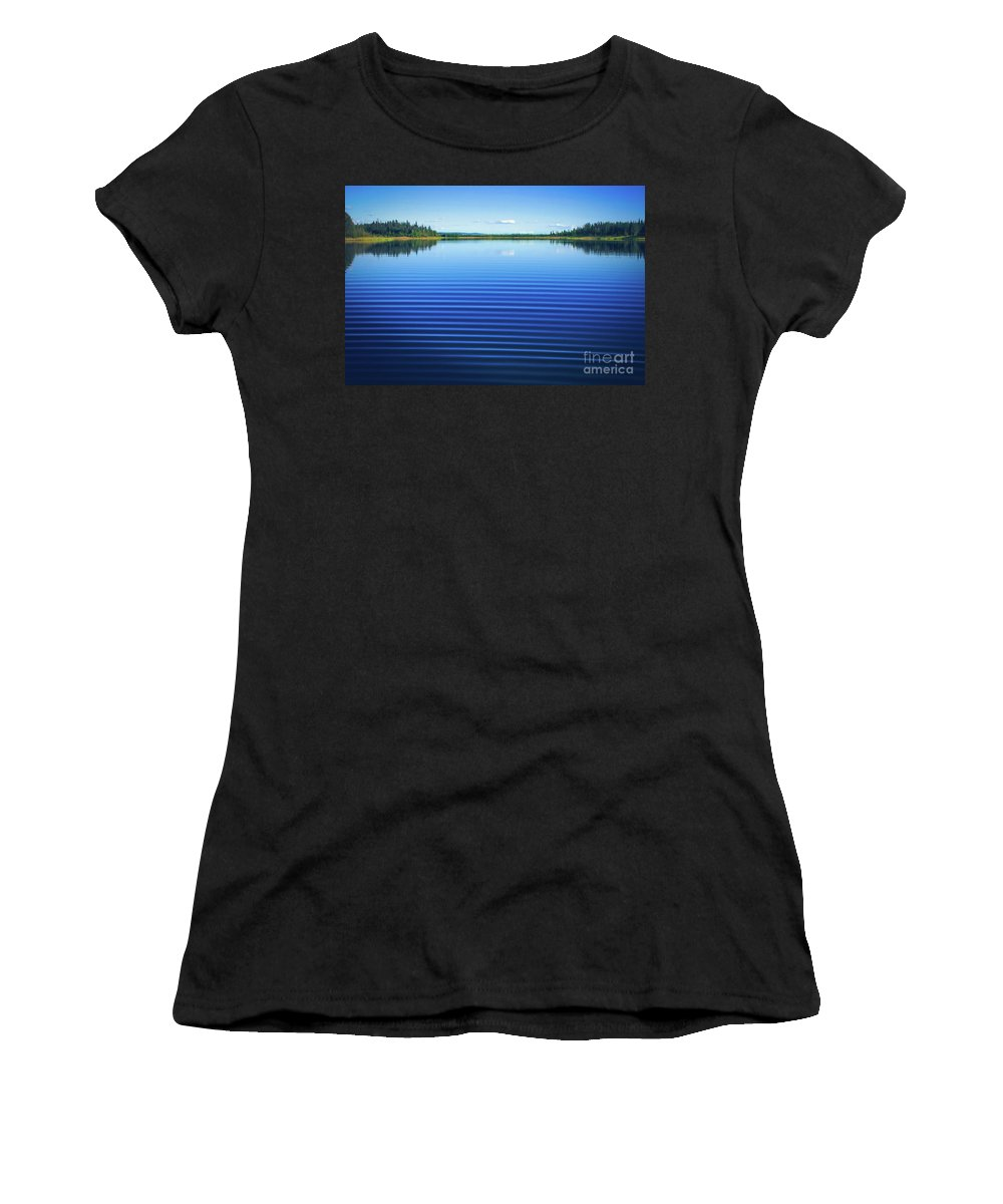Mesmerizing Ripples Women's T-Shirt (Athletic Fit) featuring the photograph Mesmerizing Ripples by Sharon Mau