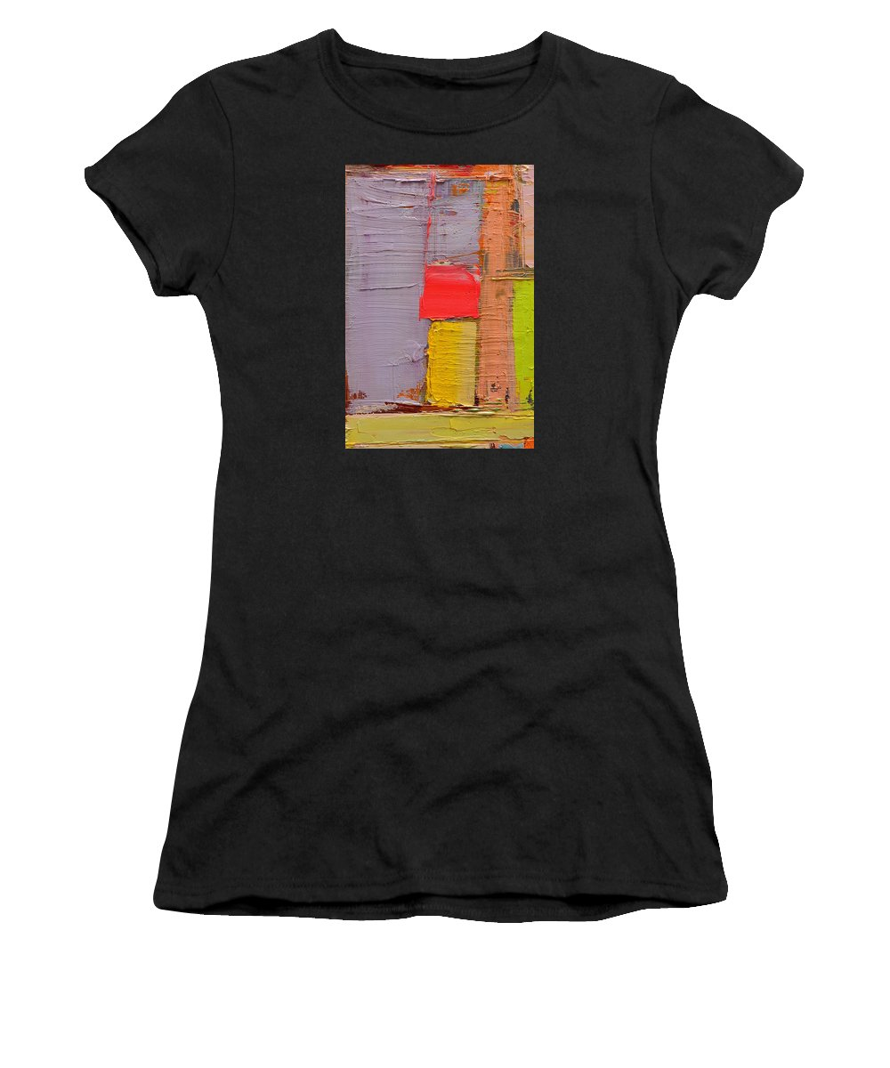 Abstract Women's T-Shirt (Athletic Fit) featuring the painting Message From Above by Ana Maria Edulescu