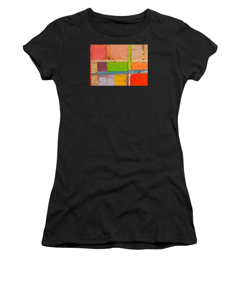 Abstract Women's T-Shirt (Athletic Fit) featuring the painting Messages 2 by Ana Maria Edulescu