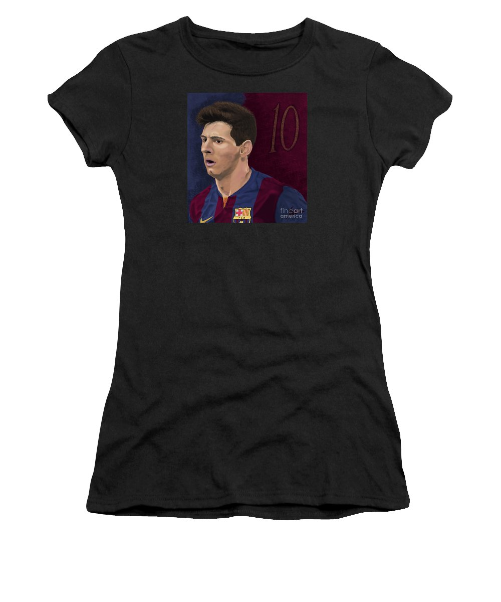Lionel Andres leo Messi Argentine Professional Footballer Who Plays As A Forward For Spanish Club Barcelona And The Argentina National Team.; N.10; Digital Oil Painting Women's T-Shirt (Athletic Fit) featuring the painting Messi-digital Oil Painting by Nenad Arsikj
