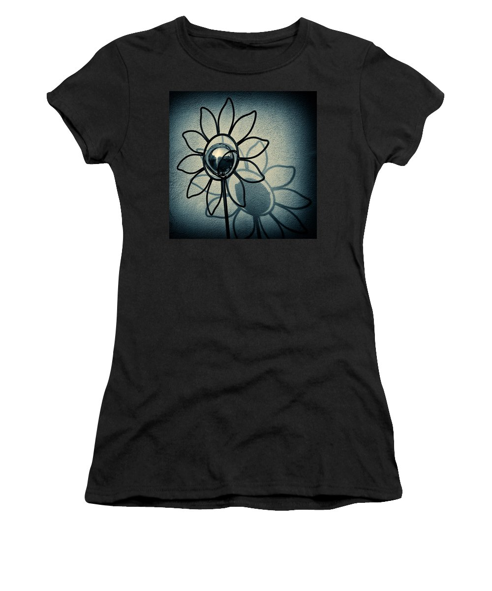 Sunflower Women's T-Shirt (Athletic Fit) featuring the photograph Metal Flower by Dave Bowman
