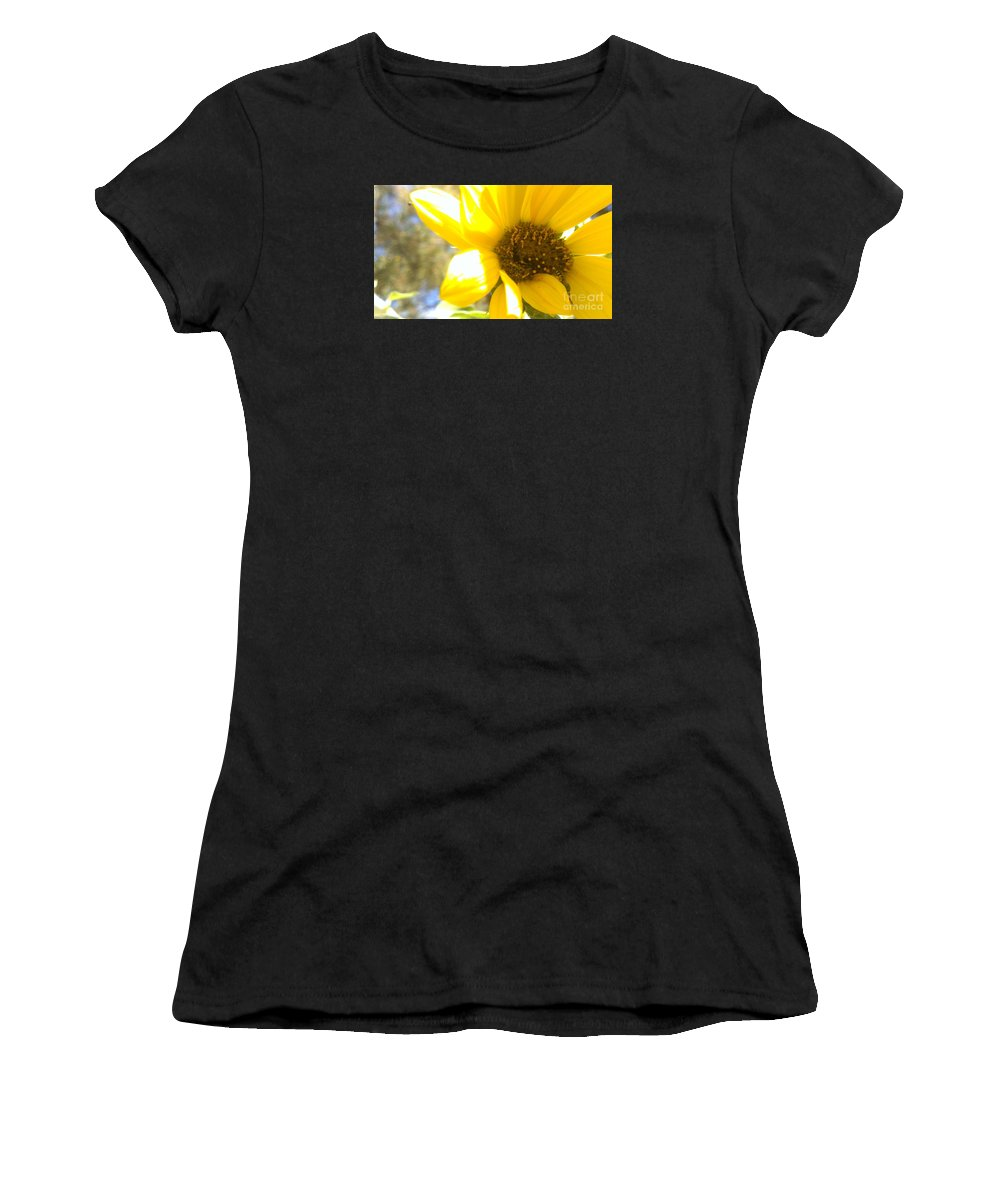 Metallic Green Bee Women's T-Shirt (Athletic Fit) featuring the photograph Metallic Green Bee In A Sunflower by LKB Art and Photography