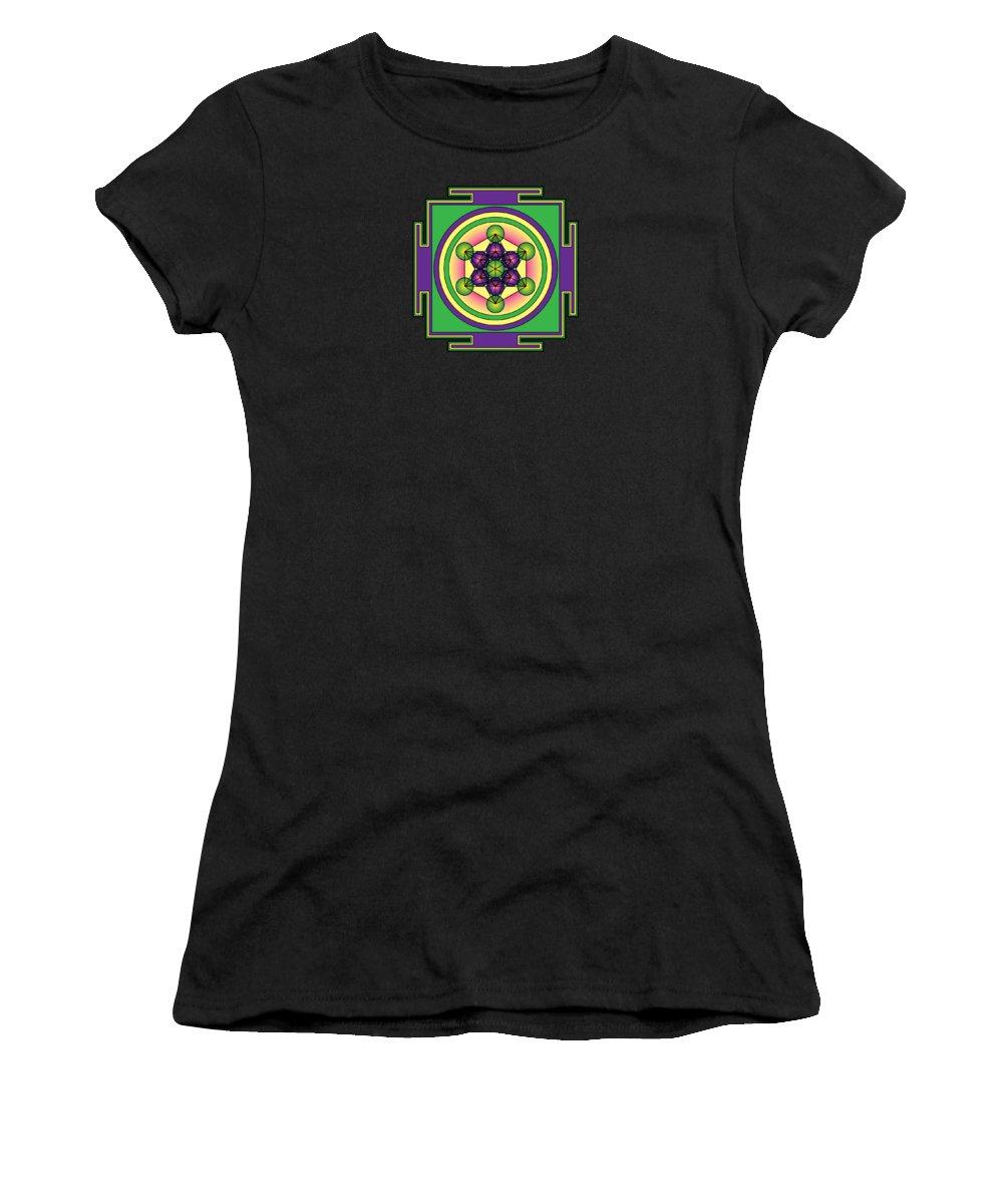 Metatron's Cube Mandala Women's T-Shirt featuring the digital art Metatron's Cube Mandala by Galactic Mantra