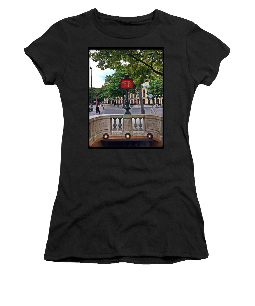 Metro Sign Women's T-Shirt featuring the photograph Metro by Sophie Michaud