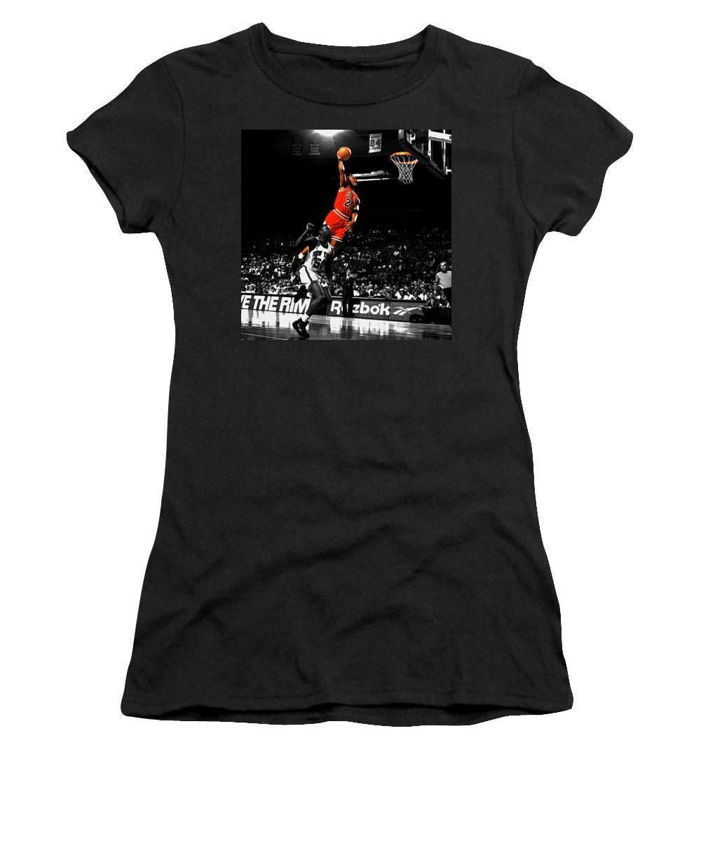 Michael Jordan Suspended In Air Women's T Shirt