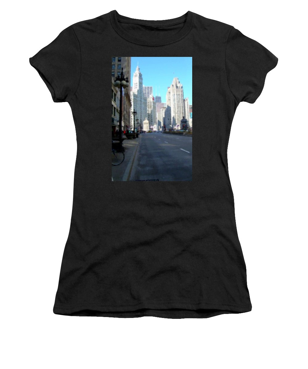 Chicago Women's T-Shirt (Athletic Fit) featuring the digital art Michigan Ave Tall by Anita Burgermeister