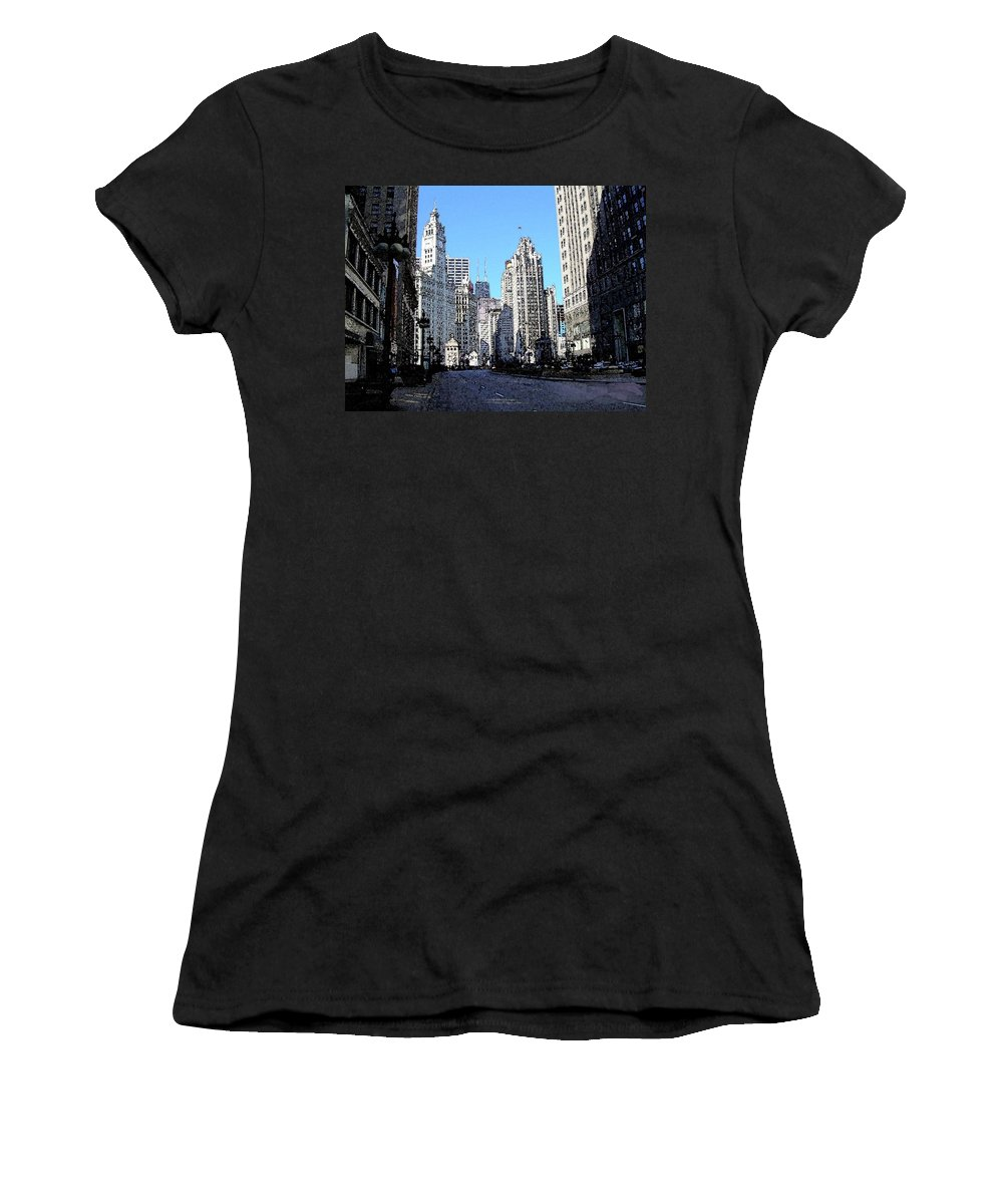 Chicago Women's T-Shirt (Athletic Fit) featuring the digital art Michigan Ave Wide by Anita Burgermeister