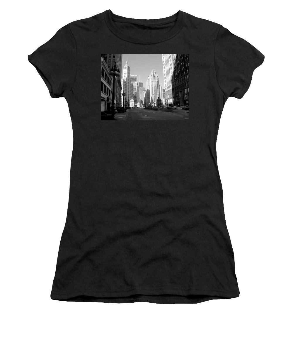 Chicago Women's T-Shirt (Athletic Fit) featuring the photograph Michigan Ave Wide B-w by Anita Burgermeister