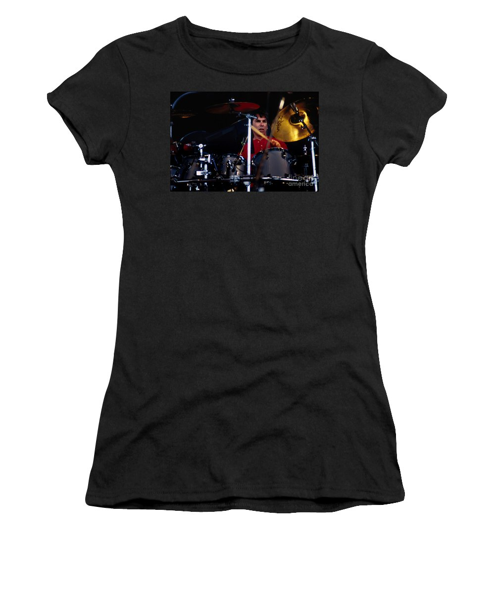 Mickey Hart Women's T-Shirt featuring the photograph Mickey Hart Grateful Dead Alpine Valley 1987 by Ray Manning