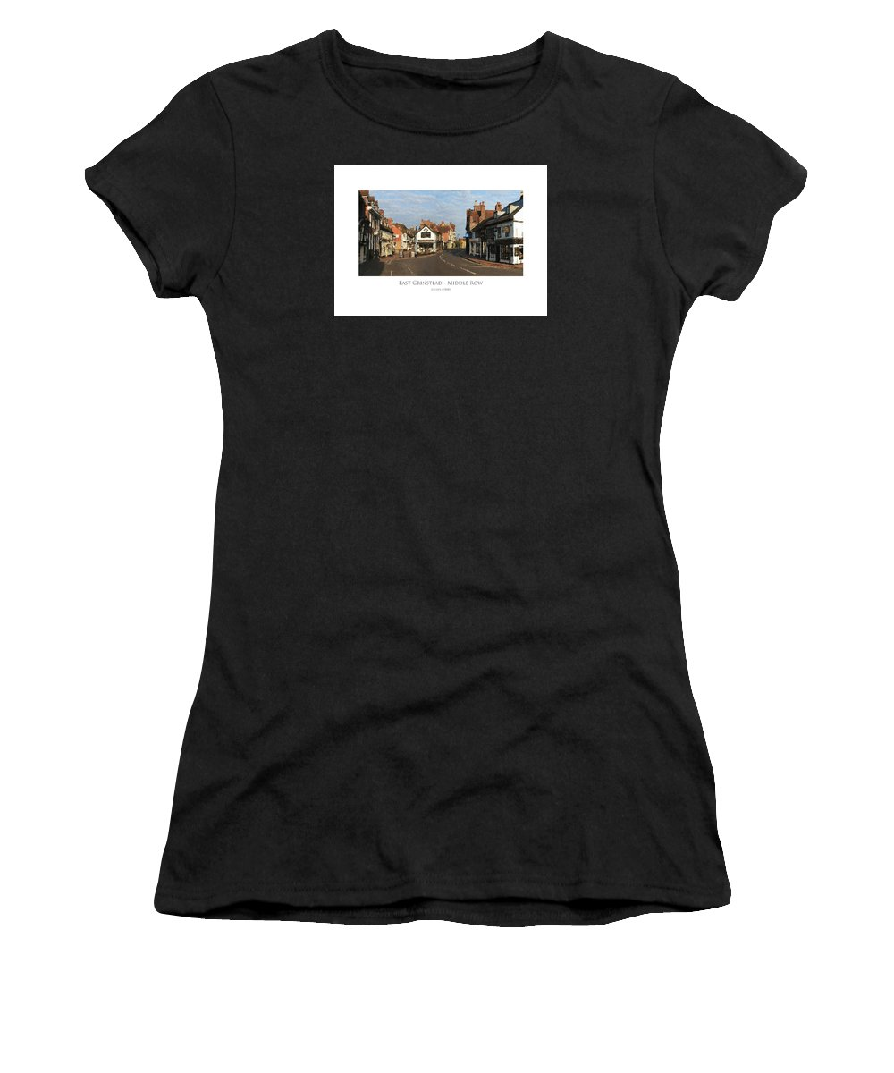 Buildings Women's T-Shirt (Athletic Fit) featuring the digital art Middle Row East Grinstead by Julian Perry