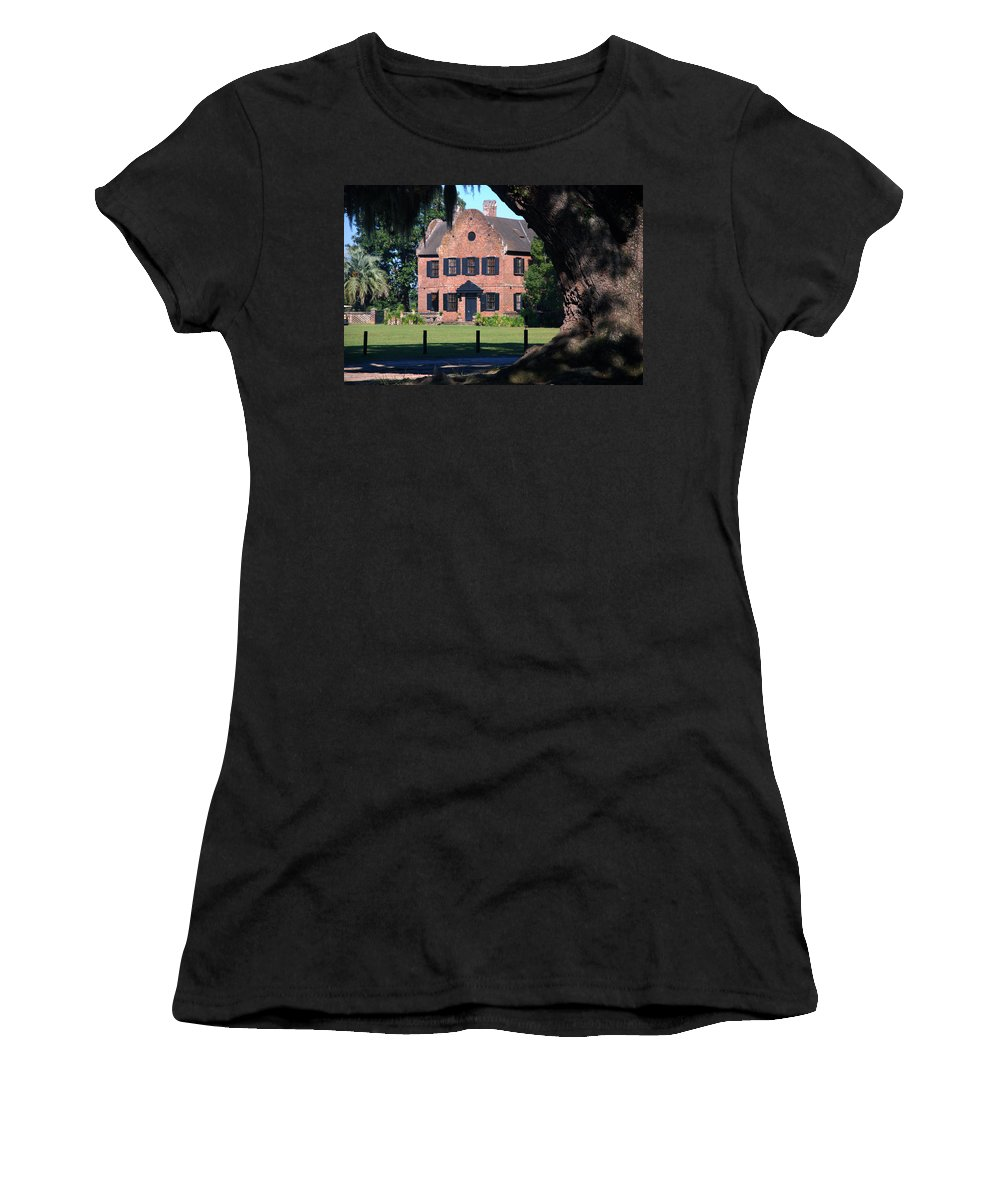 Photography Women's T-Shirt (Athletic Fit) featuring the photograph Middleton Place Plantation House by Susanne Van Hulst